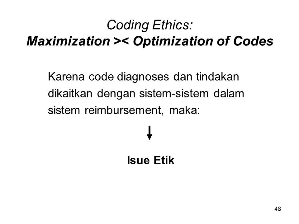 48 Coding Ethics: Maximization >< Optimization of Codes Karena code diagnoses dan tindakan dikaitkan dengan sistem-sistem dalam sistem reimbursement,