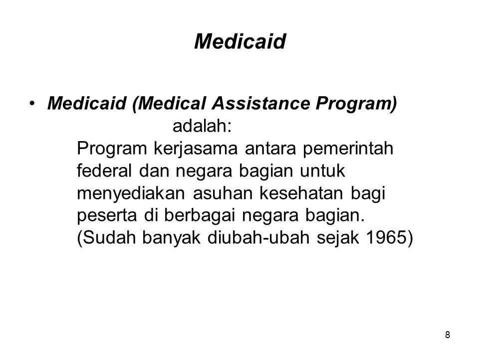 8 Medicaid Medicaid (Medical Assistance Program) adalah: Program kerjasama antara pemerintah federal dan negara bagian untuk menyediakan asuhan keseha