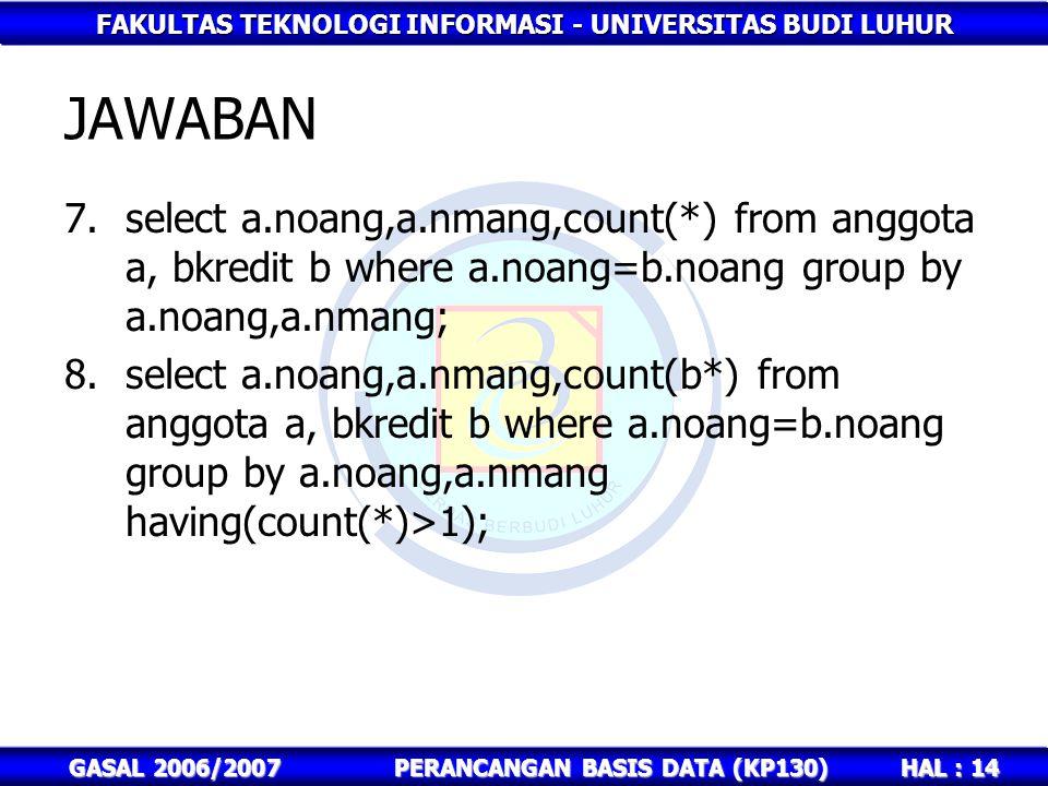 FAKULTAS TEKNOLOGI INFORMASI - UNIVERSITAS BUDI LUHUR HAL : 14 GASAL 2006/2007PERANCANGAN BASIS DATA (KP130) JAWABAN 7.select a.noang,a.nmang,count(*)