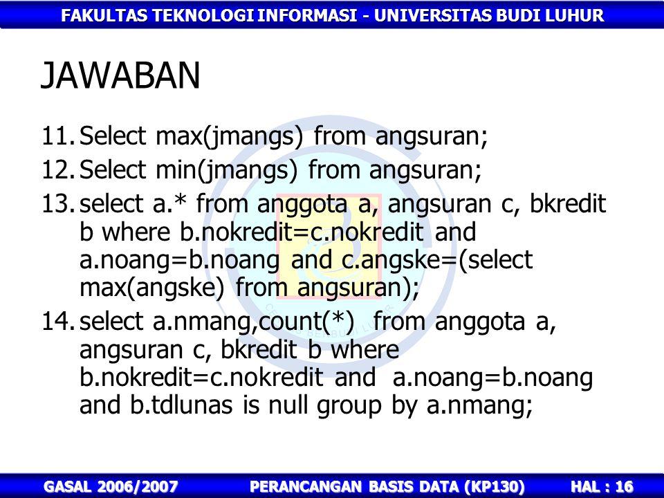 FAKULTAS TEKNOLOGI INFORMASI - UNIVERSITAS BUDI LUHUR HAL : 16 GASAL 2006/2007PERANCANGAN BASIS DATA (KP130) JAWABAN 11.Select max(jmangs) from angsur