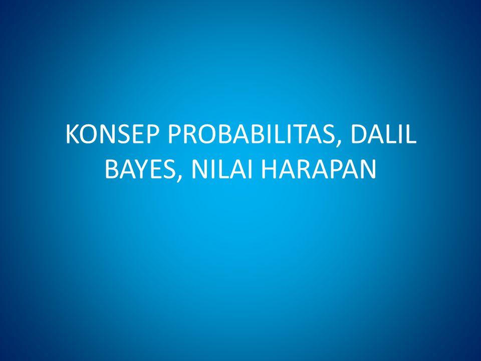 PROBABILITAS Probabilitas : Suatu nilai untuk mengukur tingkat kemungkinan terjadinya suatu kejadian yang tidak pasti (uncertain event) Contoh : Probabilitas bahwa kejadian A akan terjadi sebesar 90 % P(A) = 0.90