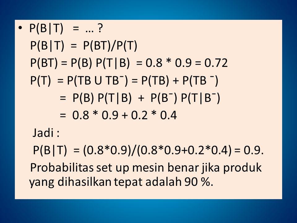 P(B|T) = … ? P(B|T) = P(BT)/P(T) P(BT) = P(B) P(T|B) = 0.8 * 0.9 = 0.72 P(T) = P(TB U TBˉ) = P(TB) + P(TB ˉ) = P(B) P(T|B) + P(Bˉ) P(T|Bˉ) = 0.8 * 0.9