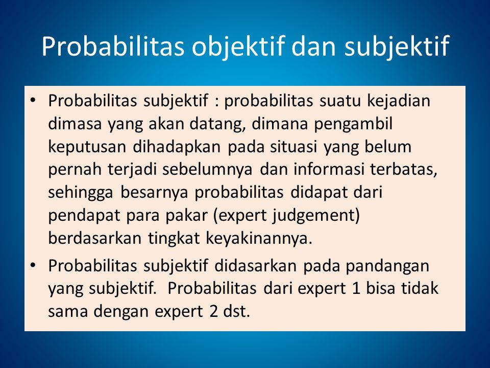 Probabilitas objektif dan subjektif Probabilitas subjektif : probabilitas suatu kejadian dimasa yang akan datang, dimana pengambil keputusan dihadapka