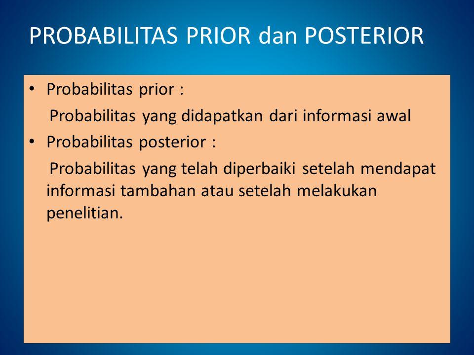 PROBABILITAS PRIOR dan POSTERIOR Probabilitas prior : Probabilitas yang didapatkan dari informasi awal Probabilitas posterior : Probabilitas yang tela