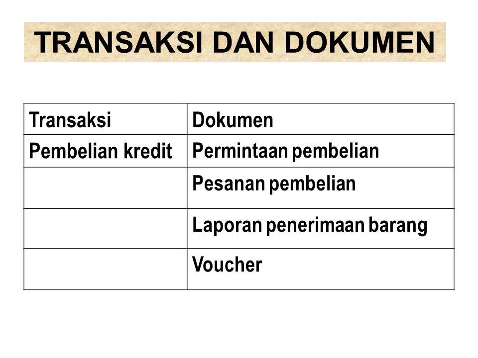 TRANSAKSI DAN DOKUMEN TransaksiDokumen Pembelian kredit Permintaan pembelian Pesanan pembelian Laporan penerimaan barang Voucher