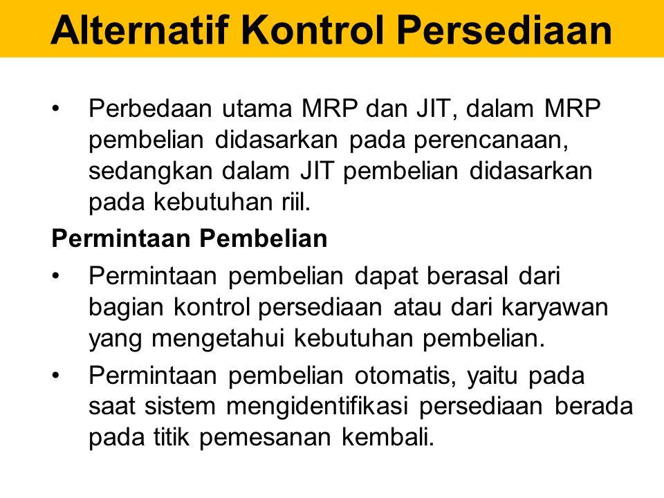 Alternatif Kontrol Persediaan Perbedaan utama MRP dan JIT, dalam MRP pembelian didasarkan pada perencanaan, sedangkan dalam JIT pembelian didasarkan p