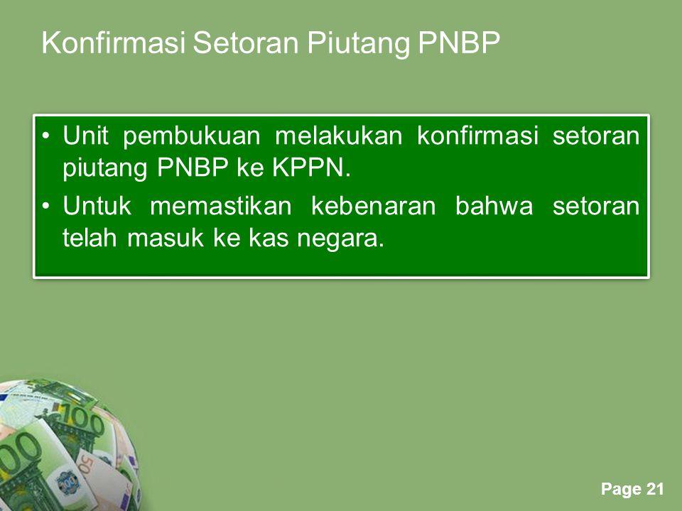 Powerpoint Templates Page 21 Konfirmasi Setoran Piutang PNBP Unit pembukuan melakukan konfirmasi setoran piutang PNBP ke KPPN.