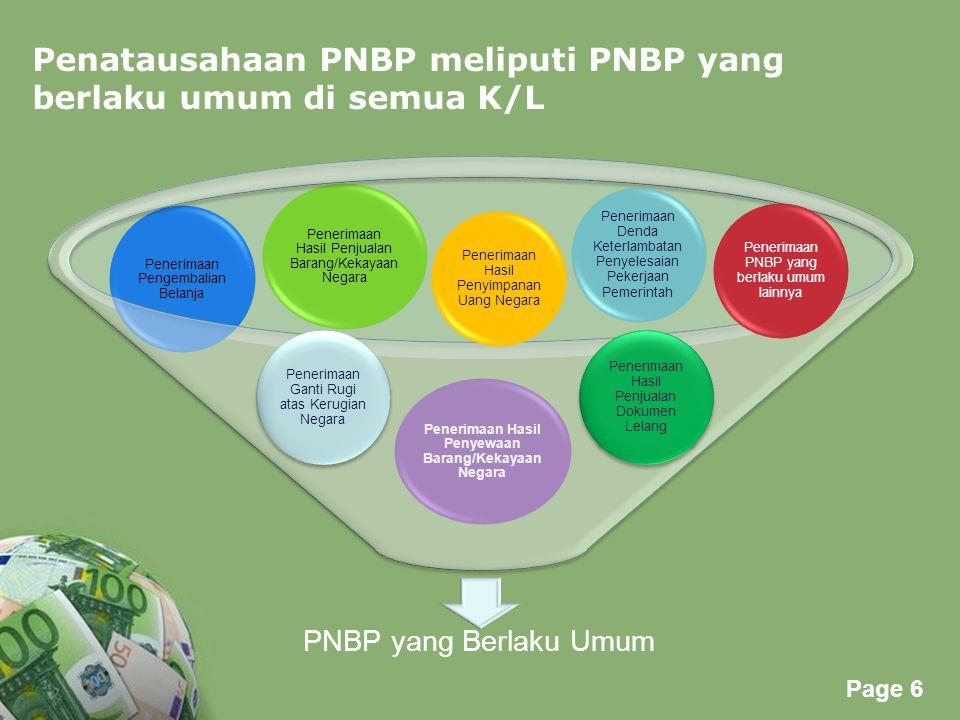 Powerpoint Templates Page 6 Penatausahaan PNBP meliputi PNBP yang berlaku umum di semua K/L PNBP yang Berlaku Umum Penerimaan Hasil Penyewaan Barang/K