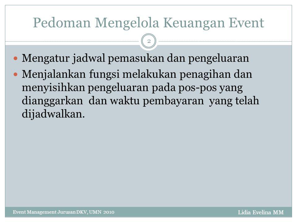 Lidia Evelina MM Event Management Jurusan DKV, UMN 2010 3 Pembagian Anggaran Event Before Event (Pemasukan dan pengeluaran sebelum event dilaksanakan).