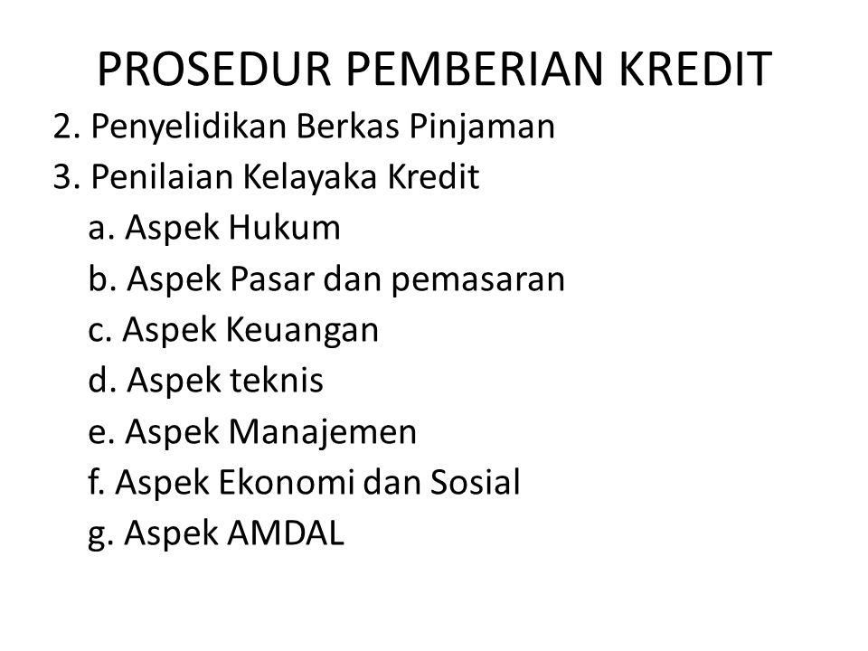 PROSEDUR PEMBERIAN KREDIT 2.Penyelidikan Berkas Pinjaman 3.