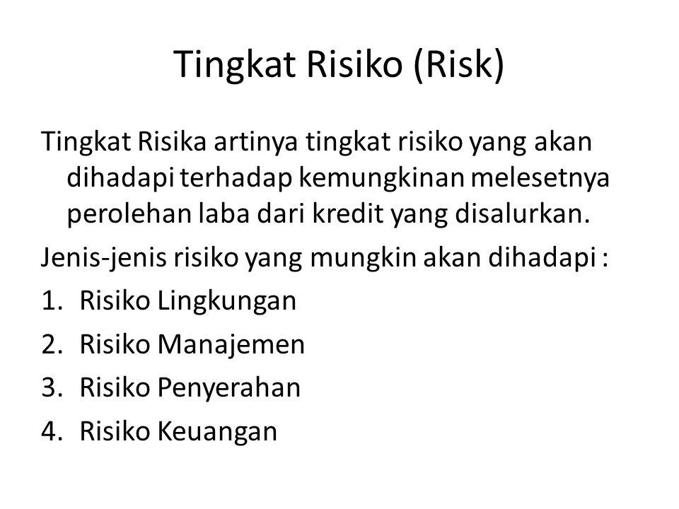 Tingkat Risiko (Risk) Tingkat Risika artinya tingkat risiko yang akan dihadapi terhadap kemungkinan melesetnya perolehan laba dari kredit yang disalurkan.