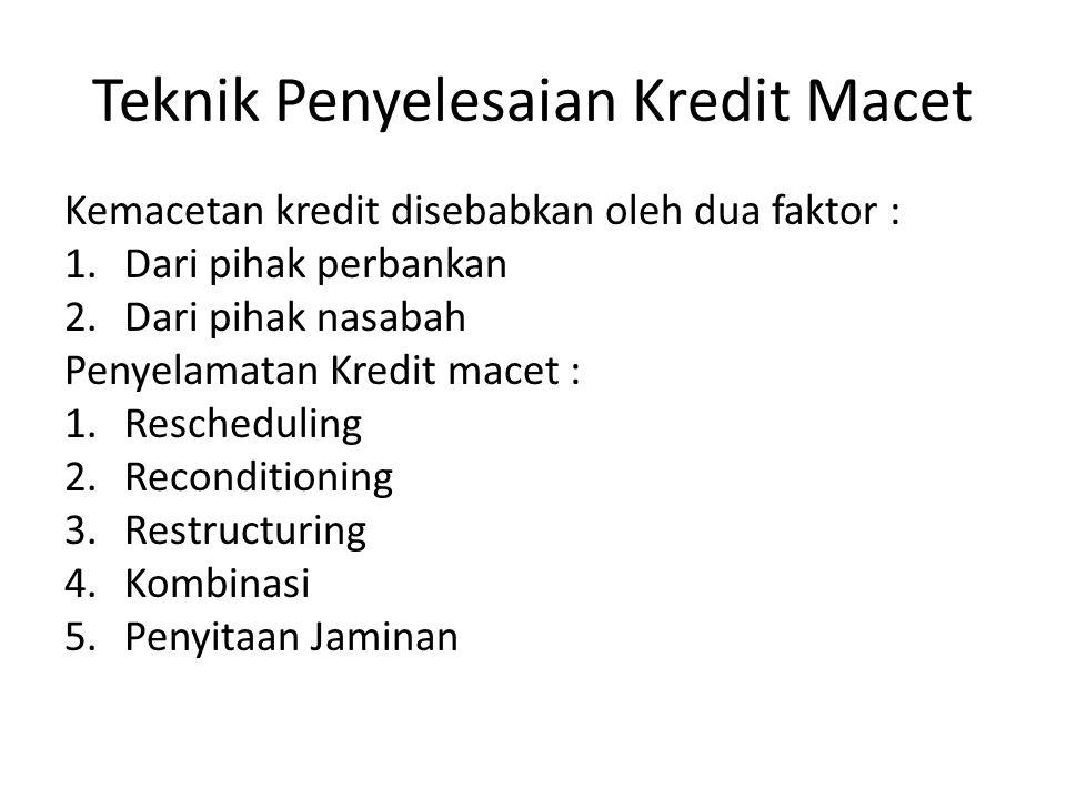Teknik Penyelesaian Kredit Macet Kemacetan kredit disebabkan oleh dua faktor : 1.Dari pihak perbankan 2.Dari pihak nasabah Penyelamatan Kredit macet : 1.Rescheduling 2.Reconditioning 3.Restructuring 4.Kombinasi 5.Penyitaan Jaminan