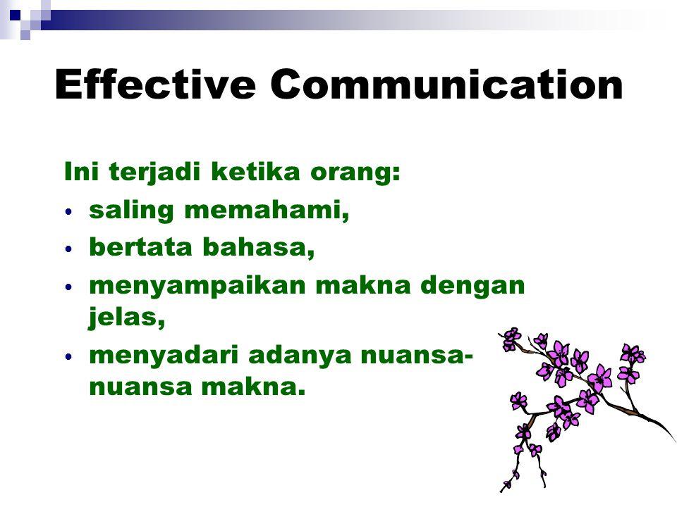Effective Communication Ini terjadi ketika orang: saling memahami, bertata bahasa, menyampaikan makna dengan jelas, menyadari adanya nuansa- nuansa ma