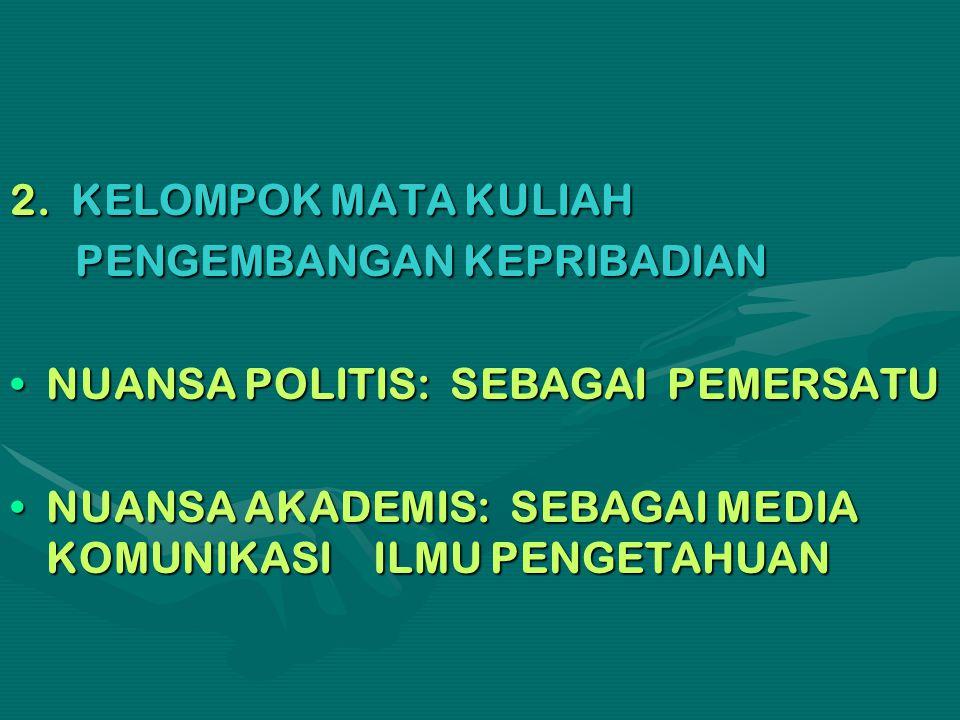 2. KELOMPOK MATA KULIAH PENGEMBANGAN KEPRIBADIAN PENGEMBANGAN KEPRIBADIAN NUANSA POLITIS: SEBAGAI PEMERSATUNUANSA POLITIS: SEBAGAI PEMERSATU NUANSA AK