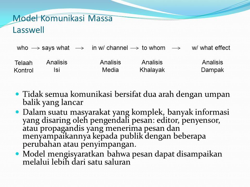 Model Komunikasi Massa Lasswell Tidak semua komunikasi bersifat dua arah dengan umpan balik yang lancar Dalam suatu masyarakat yang komplek, banyak in