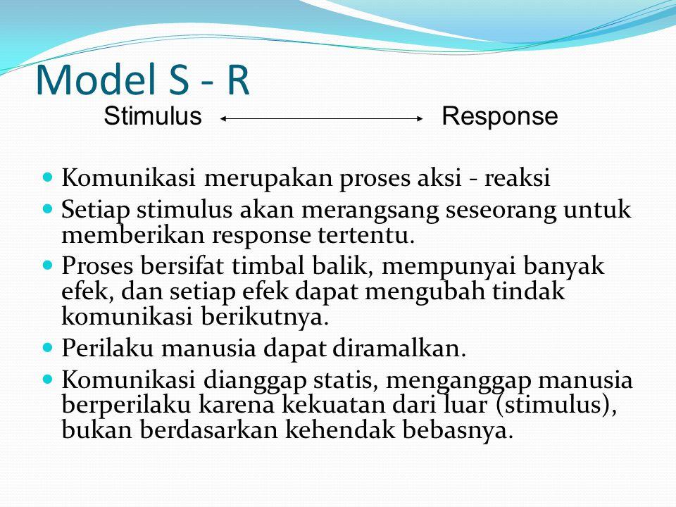 Model S - R Komunikasi merupakan proses aksi - reaksi Setiap stimulus akan merangsang seseorang untuk memberikan response tertentu. Proses bersifat ti