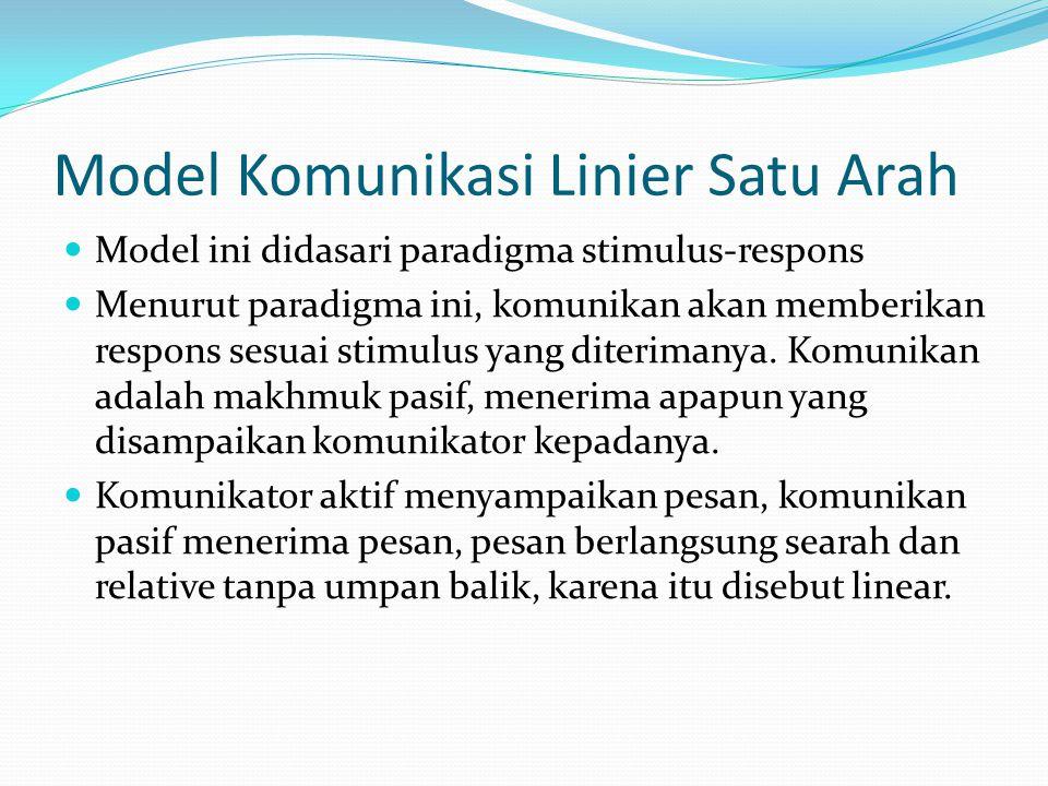 Model Komunikasi Linier Satu Arah Model ini didasari paradigma stimulus-respons Menurut paradigma ini, komunikan akan memberikan respons sesuai stimul