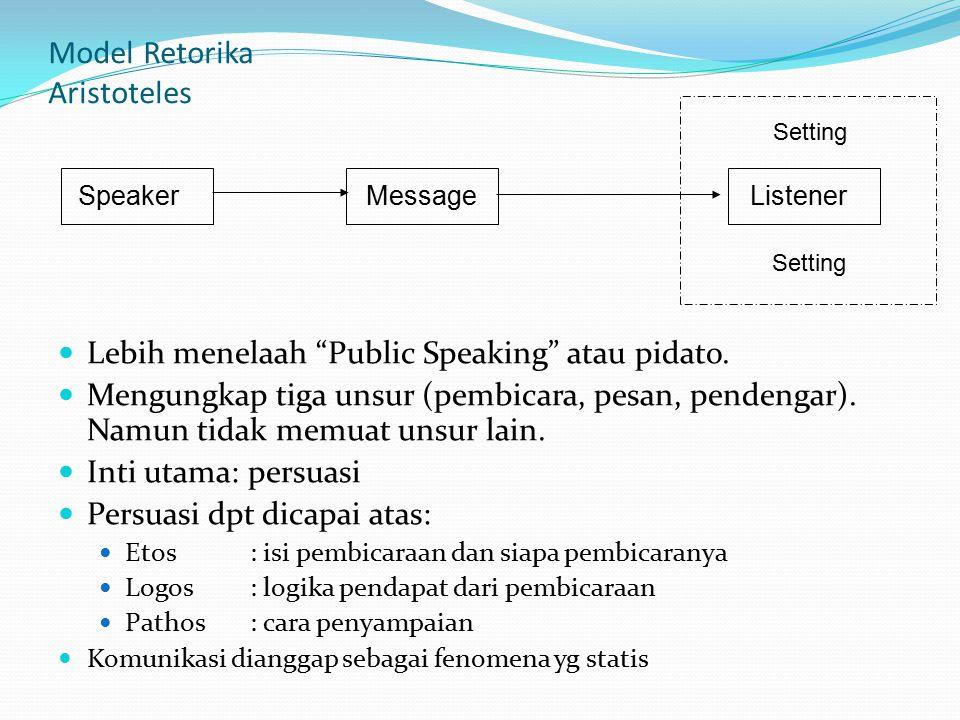 """Model Retorika Aristoteles Lebih menelaah """"Public Speaking"""" atau pidato. Mengungkap tiga unsur (pembicara, pesan, pendengar). Namun tidak memuat unsur"""