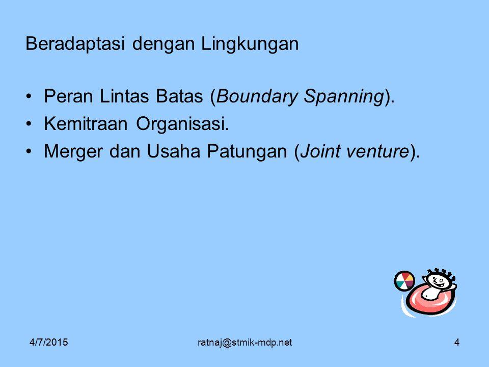 4/7/2015ratnaj@stmik-mdp.net44/7/20154 Beradaptasi dengan Lingkungan Peran Lintas Batas (Boundary Spanning). Kemitraan Organisasi. Merger dan Usaha Pa