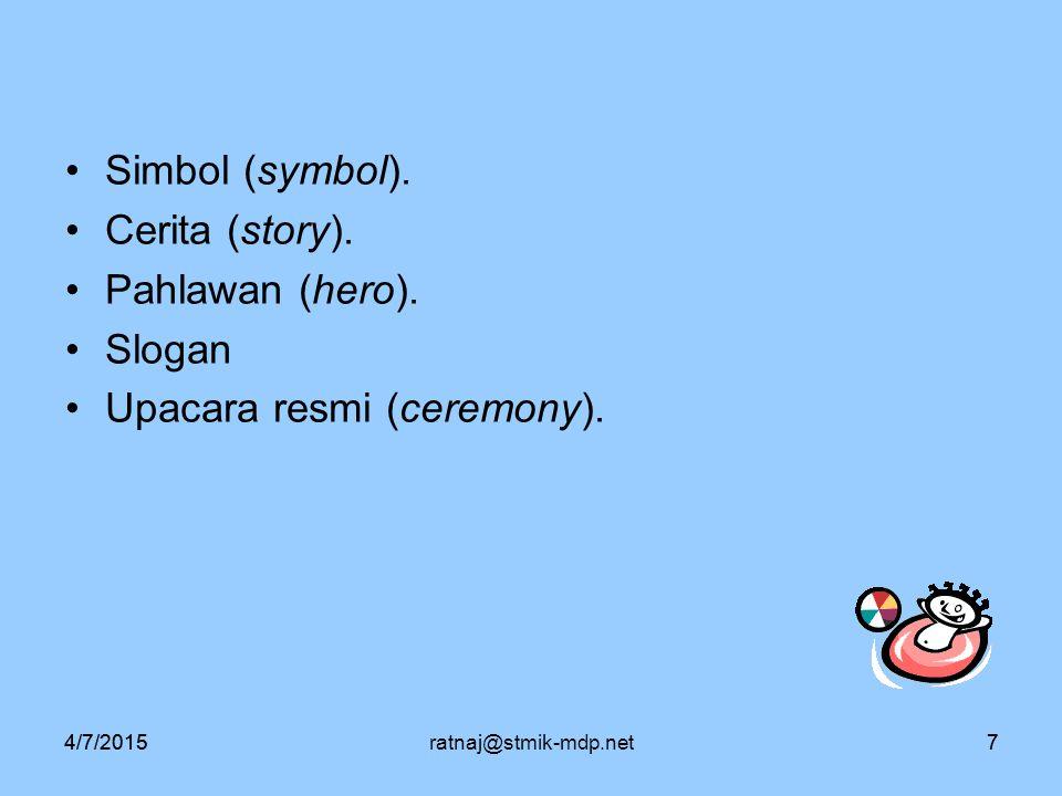 4/7/2015ratnaj@stmik-mdp.net74/7/20157 Simbol (symbol). Cerita (story). Pahlawan (hero). Slogan Upacara resmi (ceremony).