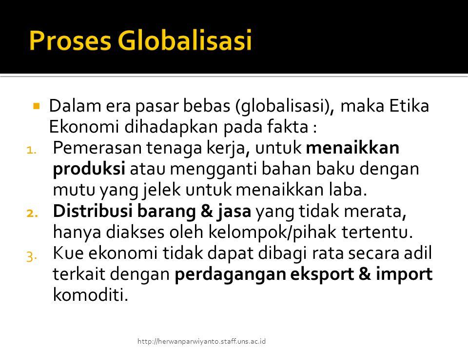  Dalam era pasar bebas (globalisasi), maka Etika Ekonomi dihadapkan pada fakta : 1. Pemerasan tenaga kerja, untuk menaikkan produksi atau mengganti b