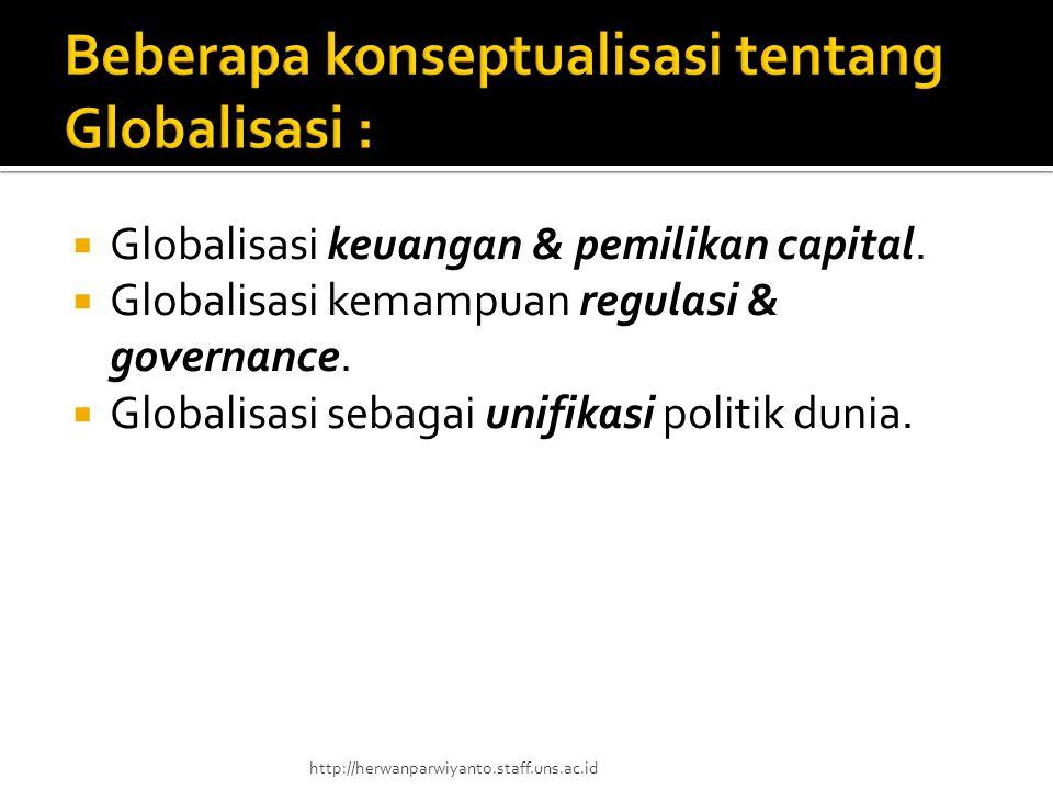  Globalisasi keuangan & pemilikan capital.  Globalisasi kemampuan regulasi & governance.  Globalisasi sebagai unifikasi politik dunia. http://herwa