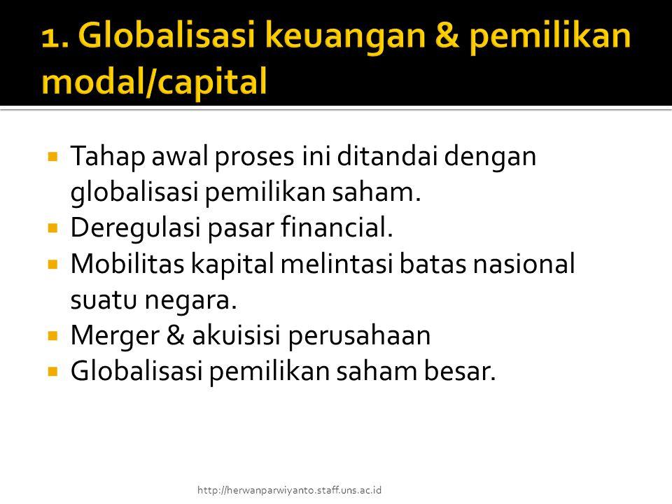  Tahap awal proses ini ditandai dengan globalisasi pemilikan saham.  Deregulasi pasar financial.  Mobilitas kapital melintasi batas nasional suatu