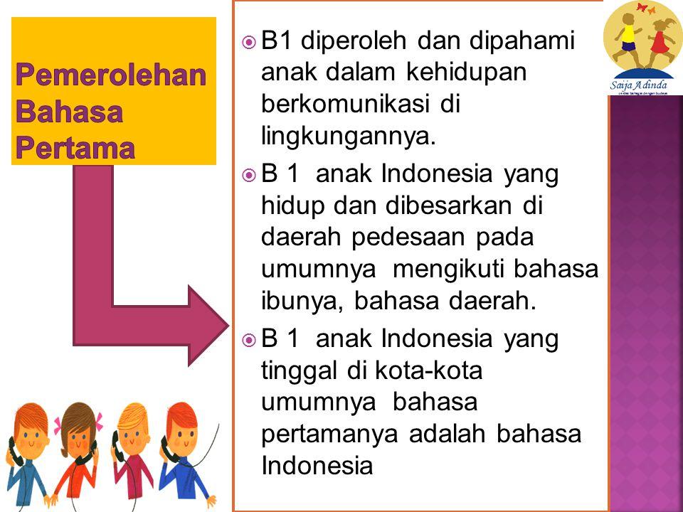  B1 diperoleh dan dipahami anak dalam kehidupan berkomunikasi di lingkungannya.
