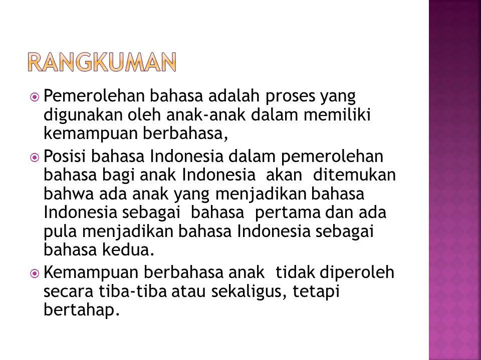  Pemerolehan bahasa adalah proses yang digunakan oleh anak-anak dalam memiliki kemampuan berbahasa,  Posisi bahasa Indonesia dalam pemerolehan bahasa bagi anak Indonesia akan ditemukan bahwa ada anak yang menjadikan bahasa Indonesia sebagai bahasa pertama dan ada pula menjadikan bahasa Indonesia sebagai bahasa kedua.