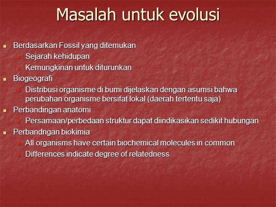 Masalah untuk evolusi Berdasarkan Fossil yang ditemukan Berdasarkan Fossil yang ditemukan Sejarah kehidupan Sejarah kehidupan Kemungkinan untuk dituru