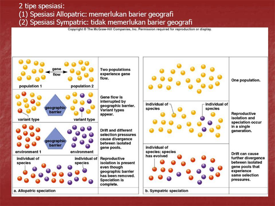 2 tipe spesiasi: (1) Spesiasi Allopatric: memerlukan barier geografi (2) Spesiasi Sympatric: tidak memerlukan barier geografi