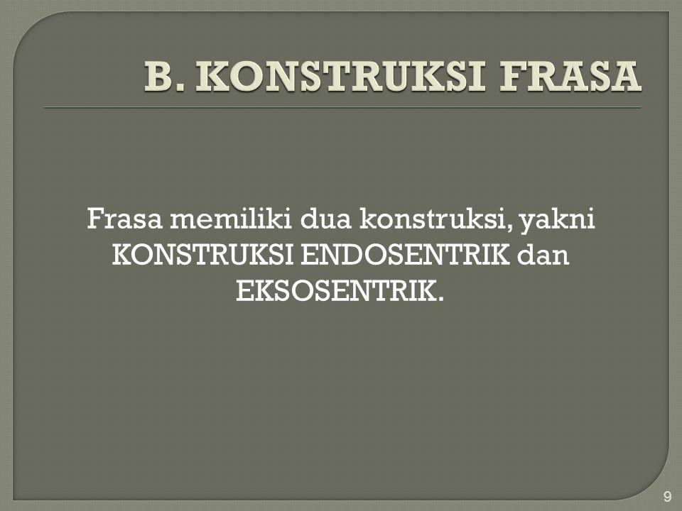 Frasa memiliki dua konstruksi, yakni KONSTRUKSI ENDOSENTRIK dan EKSOSENTRIK. 9