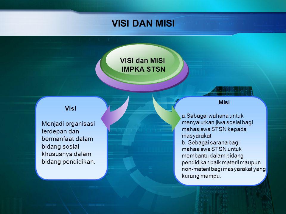 VISI DAN MISI Visi Menjadi organisasi terdepan dan bermanfaat dalam bidang sosial khususnya dalam bidang pendidikan. VISI dan MISI IMPKA STSN Misi a.S
