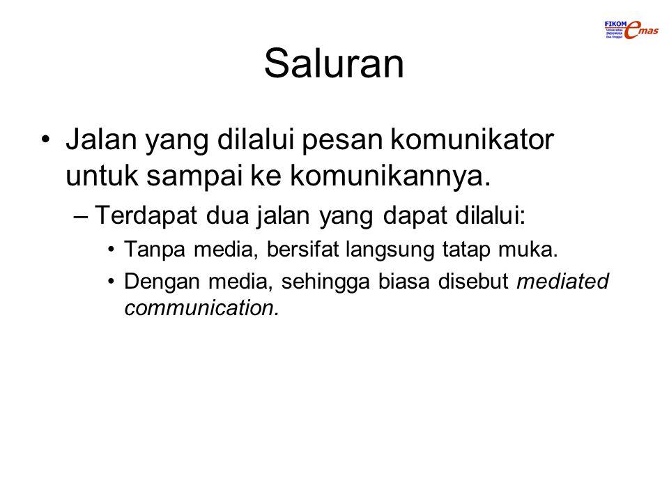 Saluran Jalan yang dilalui pesan komunikator untuk sampai ke komunikannya. –Terdapat dua jalan yang dapat dilalui: Tanpa media, bersifat langsung tata