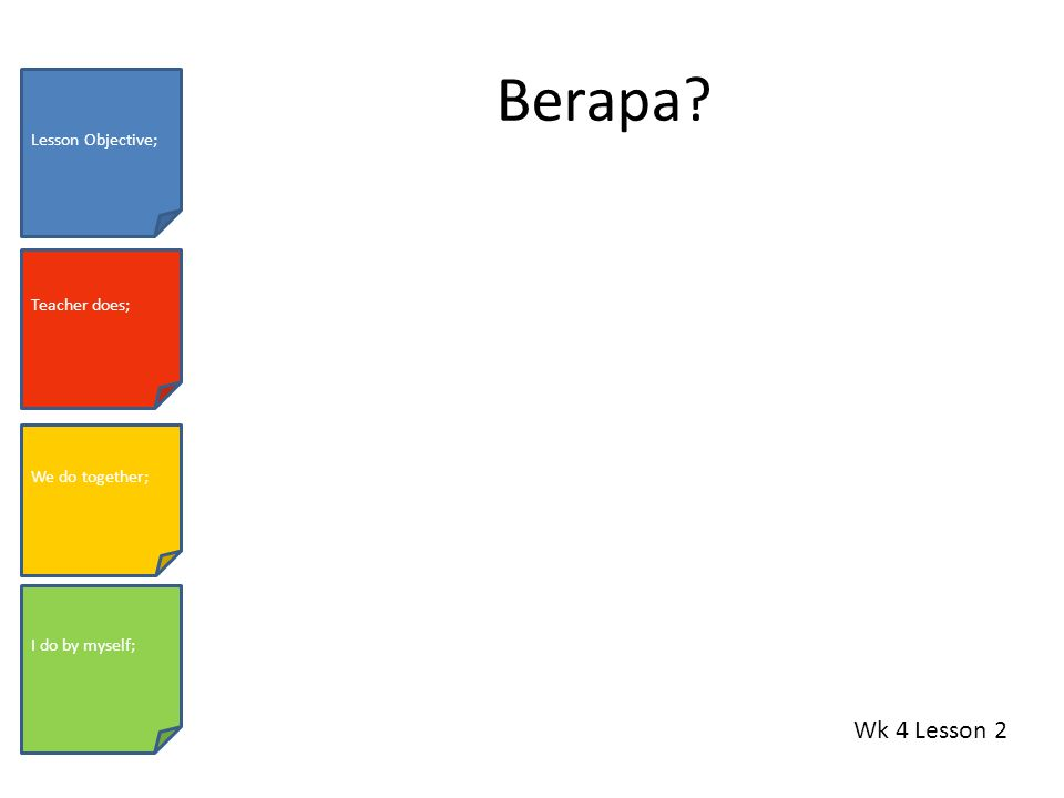 Berapa Wk 4 Lesson 2 Lesson Objective; Teacher does; We do together; I do by myself;