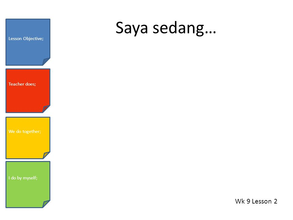 Saya sedang… Wk 9 Lesson 2 Lesson Objective; Teacher does; We do together; I do by myself;