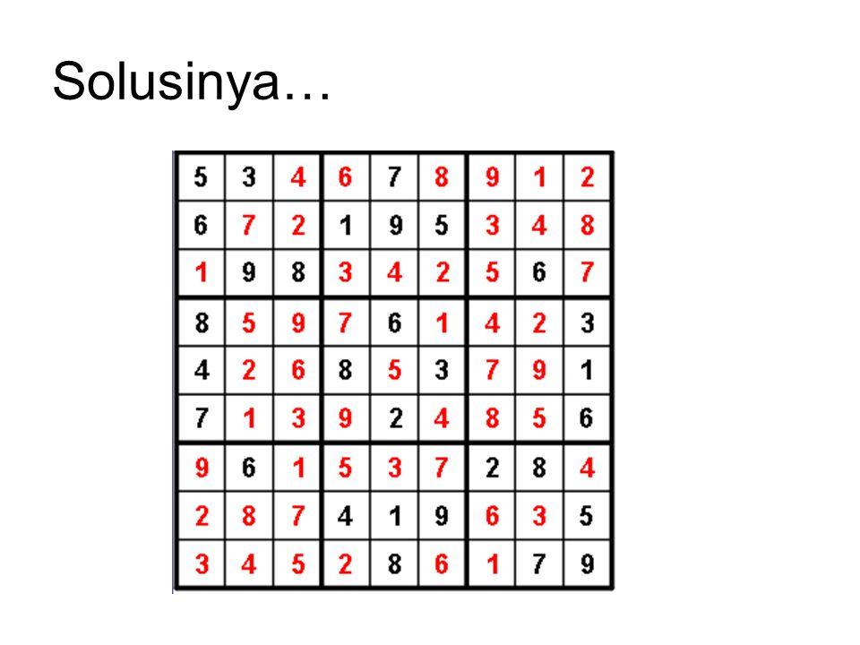 Algoritma Brute Force untuk Sudoku 1.Tempatkan angka 1 pada sel pertama.