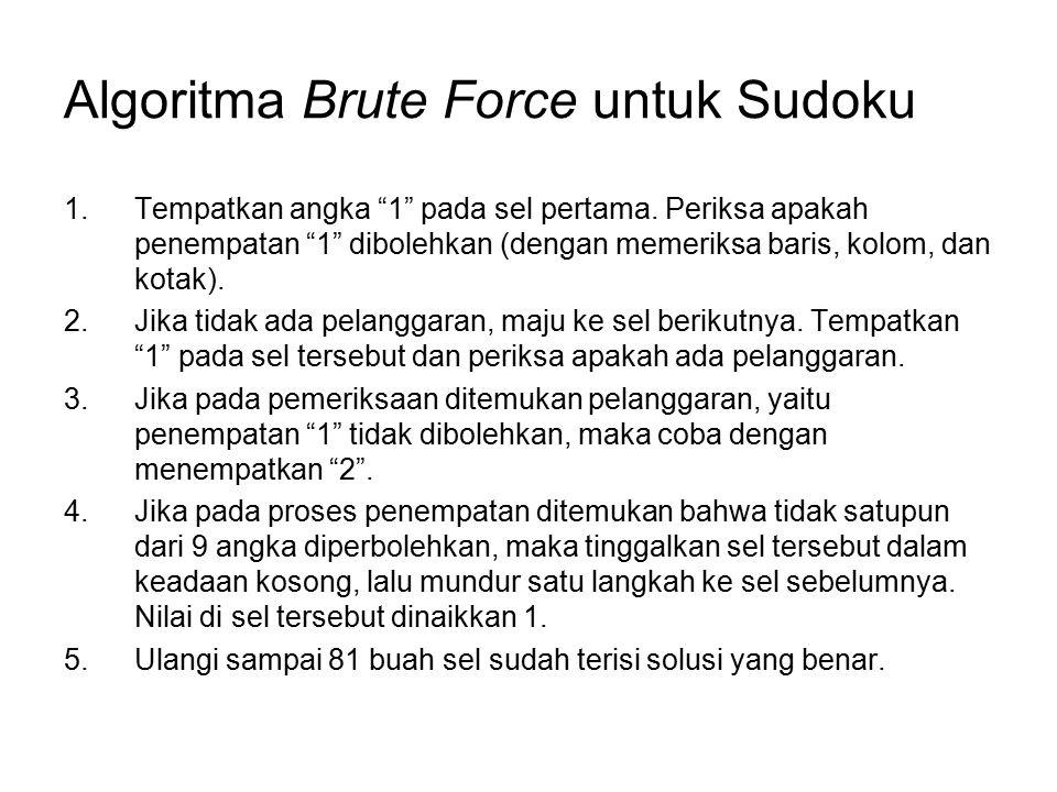 Tucil 1 Tulislah program kecil (sederhana) dalam Bahasa C/C++ yang mengimplementasikan algoritma Brute Force untuk mencari solusi sebuah sudoku.