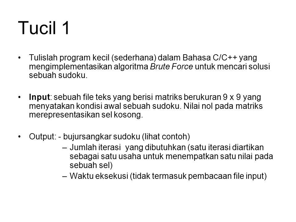 Tucil 1 Tulislah program kecil (sederhana) dalam Bahasa C/C++ yang mengimplementasikan algoritma Brute Force untuk mencari solusi sebuah sudoku. Input