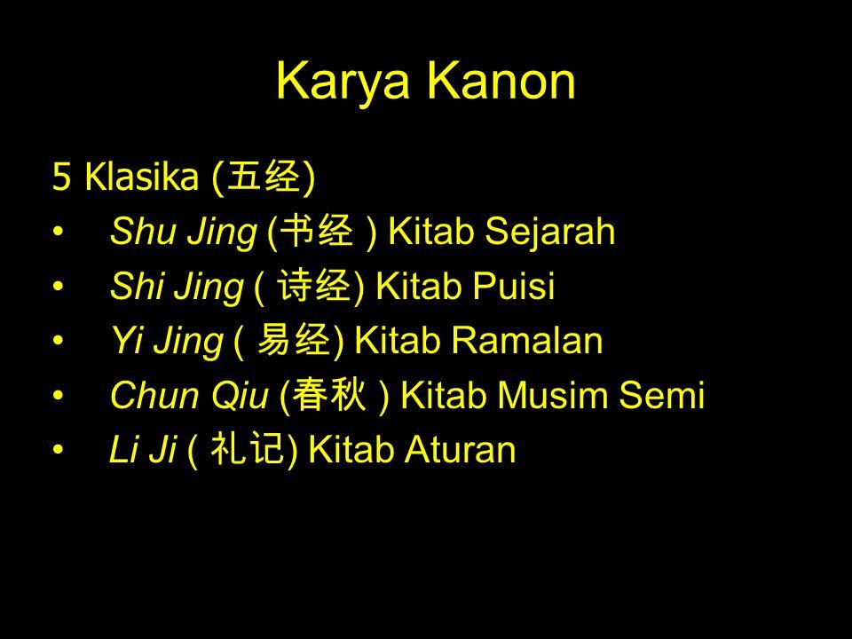 Karya Kanon 5 Klasika ( 五经 ) Shu Jing ( 书经 ) Kitab Sejarah Shi Jing ( 诗经 ) Kitab Puisi Yi Jing ( 易经 ) Kitab Ramalan Chun Qiu ( 春秋 ) Kitab Musim Semi L