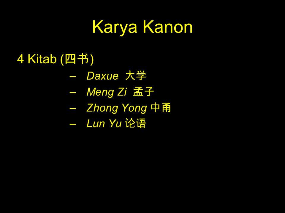 Karya Kanon 4 Kitab ( 四书 ) –Daxue 大学 –Meng Zi 孟子 –Zhong Yong 中甬 –Lun Yu 论语