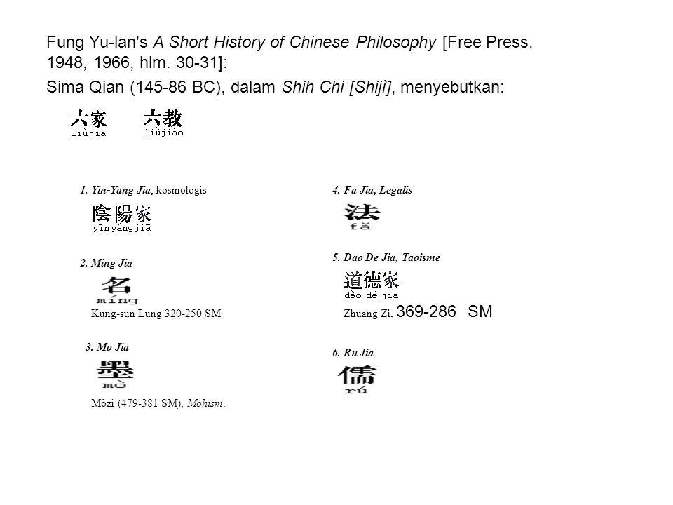 Sima Qian (145-86 BC), dalam Shih Chi [Shijì], menyebutkan: Fung Yu-lan's A Short History of Chinese Philosophy [Free Press, 1948, 1966, hlm. 30-31]: