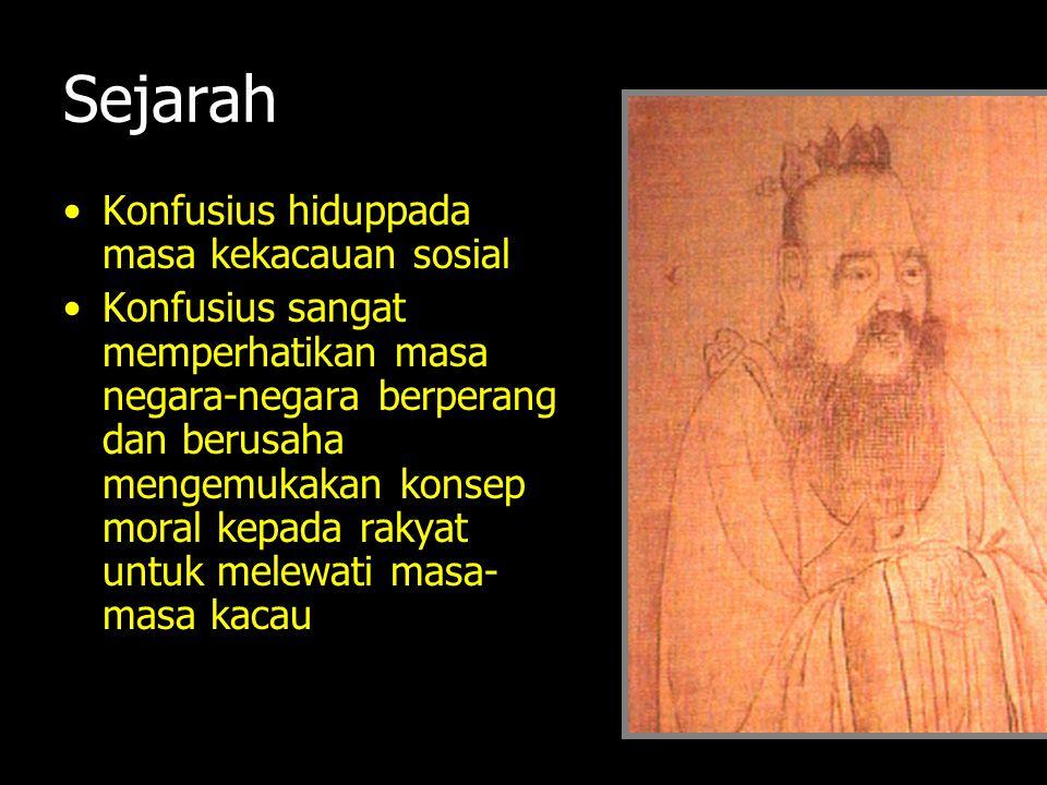 Sejarah Konfusius hiduppada masa kekacauan sosial Konfusius sangat memperhatikan masa negara-negara berperang dan berusaha mengemukakan konsep moral k