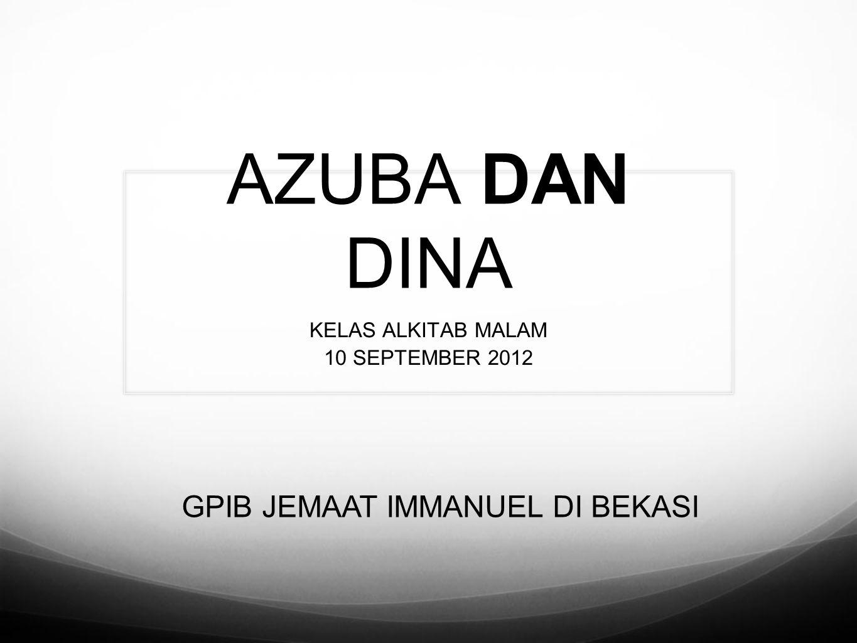 AZUBA DAN DINA KELAS ALKITAB MALAM 10 SEPTEMBER 2012 GPIB JEMAAT IMMANUEL DI BEKASI