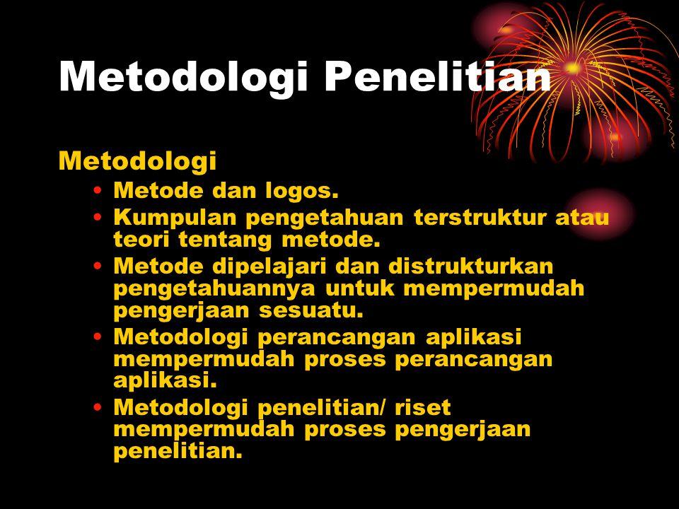 Metodologi Penelitian Metodologi Metode dan logos. Kumpulan pengetahuan terstruktur atau teori tentang metode. Metode dipelajari dan distrukturkan pen