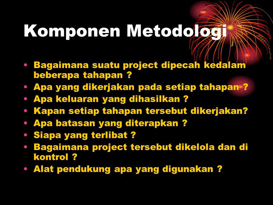 Komponen Metodologi Bagaimana suatu project dipecah kedalam beberapa tahapan ? Apa yang dikerjakan pada setiap tahapan ? Apa keluaran yang dihasilkan