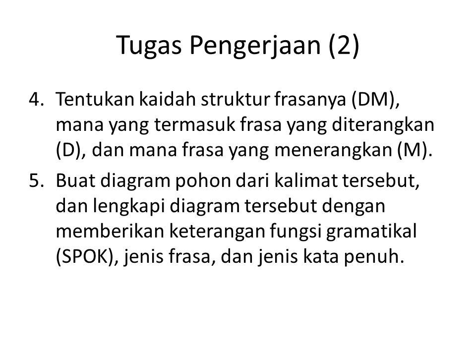 Tugas Pengerjaan (2) 4.Tentukan kaidah struktur frasanya (DM), mana yang termasuk frasa yang diterangkan (D), dan mana frasa yang menerangkan (M). 5.B