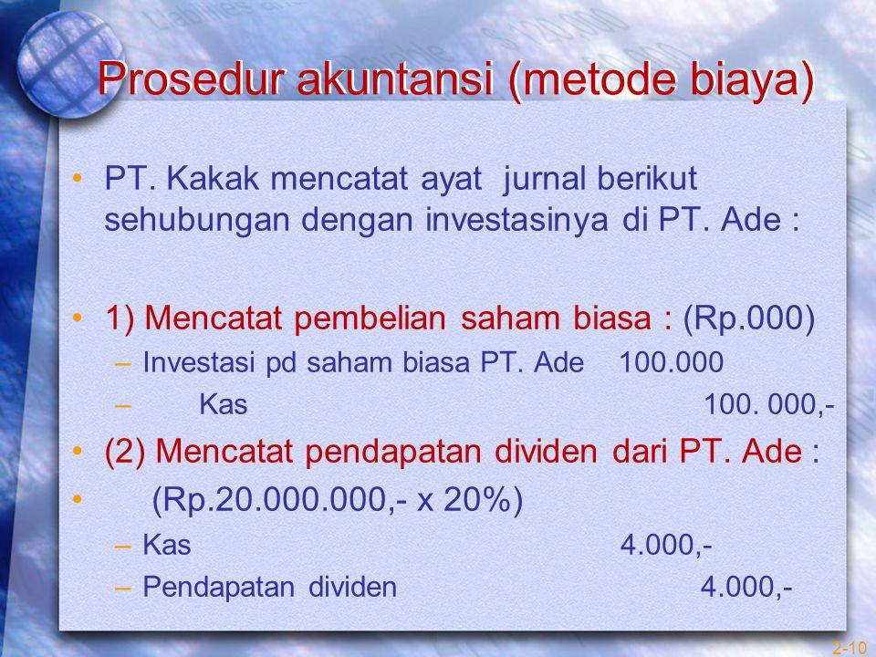 Prosedur akuntansi (metode biaya) PT. Kakak mencatat ayat jurnal berikut sehubungan dengan investasinya di PT. Ade : 1) Mencatat pembelian saham biasa