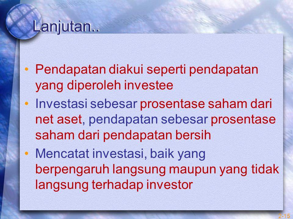 Lanjutan.. Pendapatan diakui seperti pendapatan yang diperoleh investee Investasi sebesar prosentase saham dari net aset, pendapatan sebesar prosentas