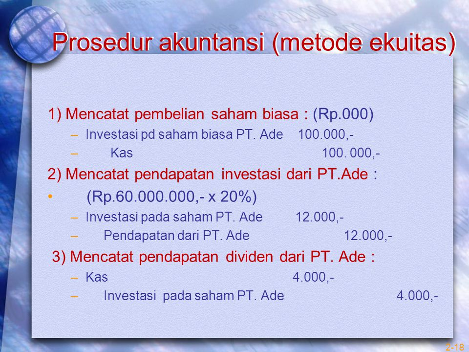 Prosedur akuntansi (metode ekuitas) 1) Mencatat pembelian saham biasa : (Rp.000) –Investasi pd saham biasa PT. Ade 100.000,- – Kas 100. 000,- 2) Menca